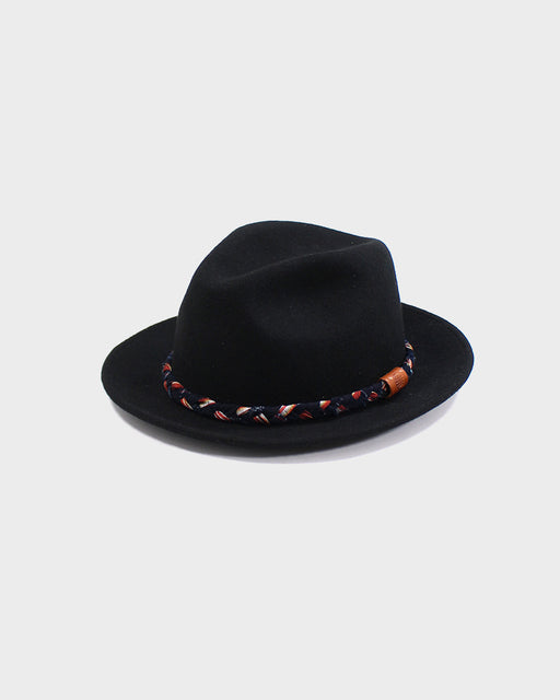 Kiriko Wool Felt Hat, Black with Orange and Indigo Braided Hat Band
