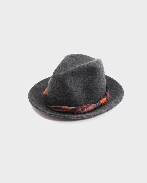 Kiriko Wool Felt Hat, Grey with Orange and Brown Twisted Hat Band