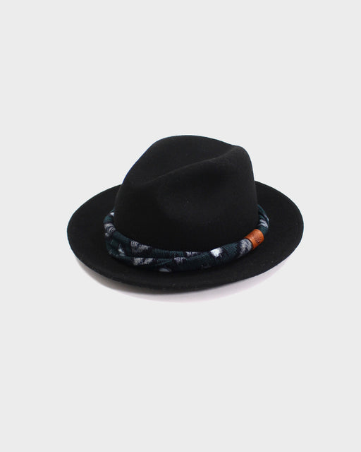 Kiriko Wool Felt Hat, Black with Blue and Indigo Igeta Twisted Hat Band