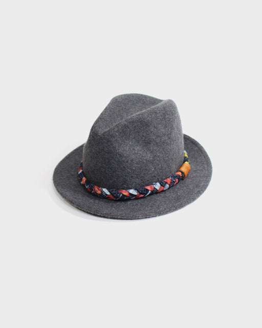 Kiriko Charcoal Wool Felt Hat, with Braided Indigo Boro and Silk Fabric