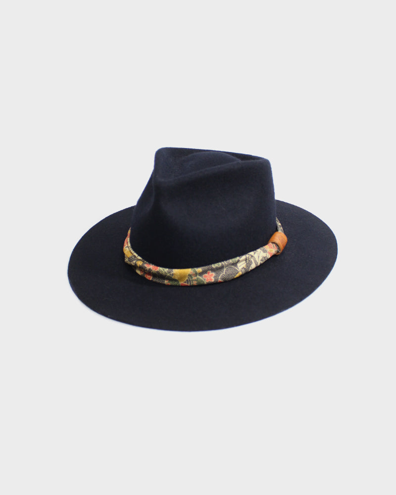 Kiriko Black Wool Felt Hat, with Twisted Obi Katazome Fabric