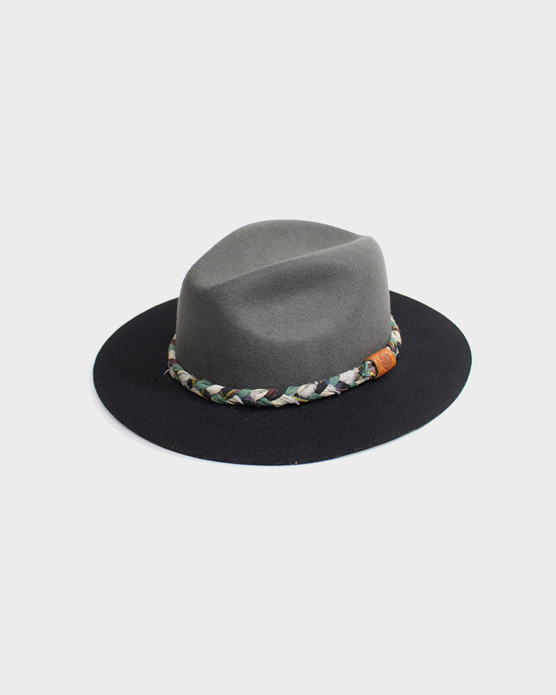Kiriko Two Tone Wool Felt Hat, with Braided Multi Color Boro
