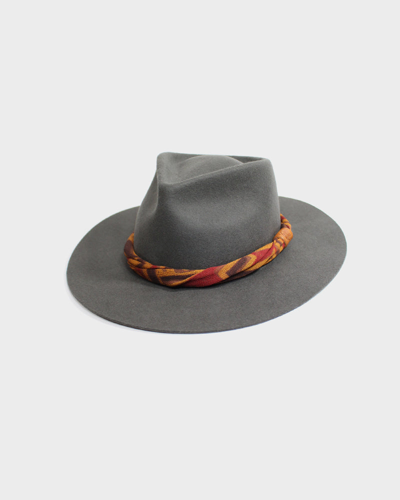 Kiriko Grey Wool Felt Hat, with Twisted Obi Fabric
