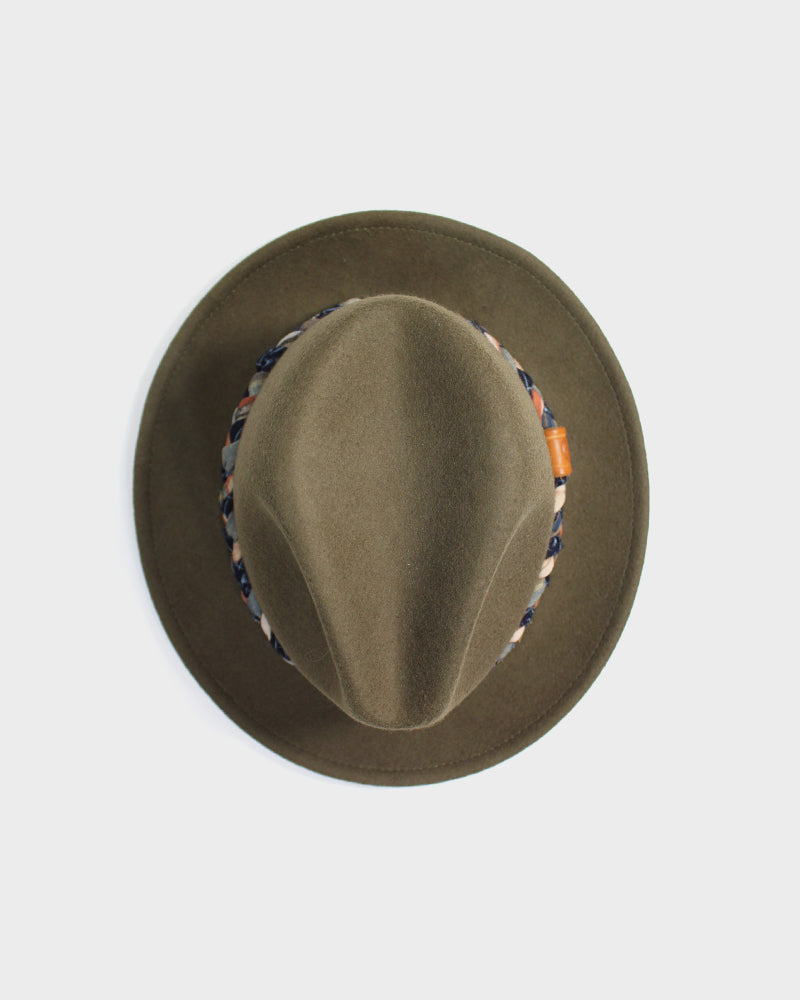 Wool Felt Hat, Olive, with Braided Orange, Indigo Boro