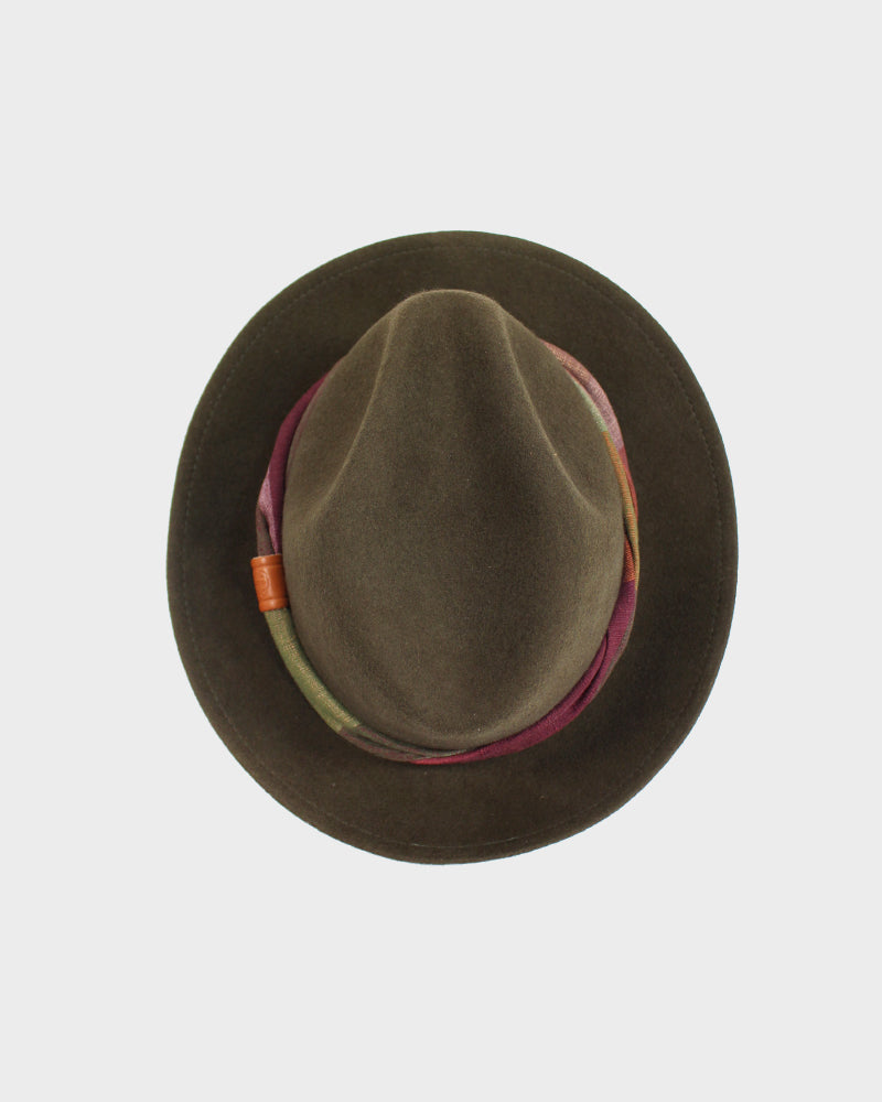 Kiriko Wool Felt Hat, Brown, Maroon and Green Twisted Hatband