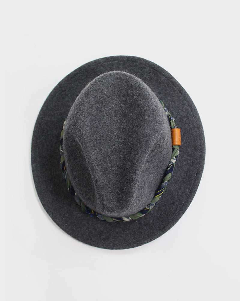 Kiriko Grey Wool Felt Hat, with Braided Boro Faded Green, Indigo and Cream