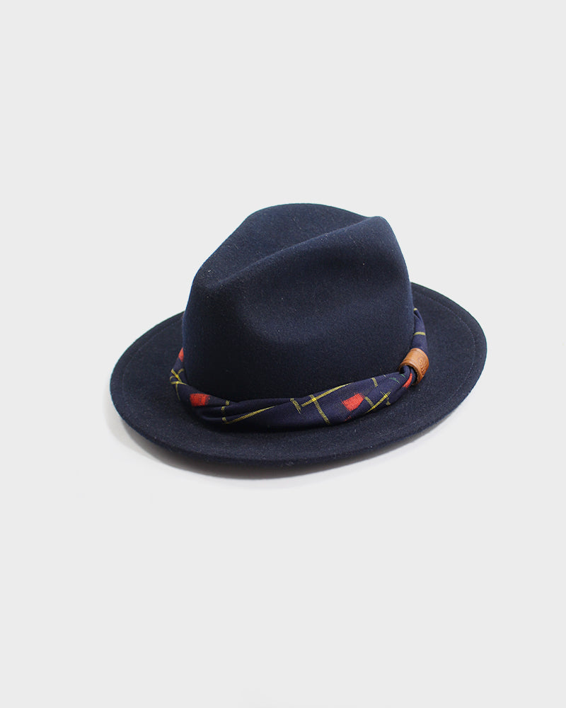 Kiriko Navy Wool Felt Hat, with Wool Kasuri Kimono