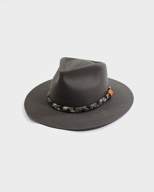 Kiriko Grey Wool Felt Hat, with Braided Boro Faded Green, Sakura Pink, and Black
