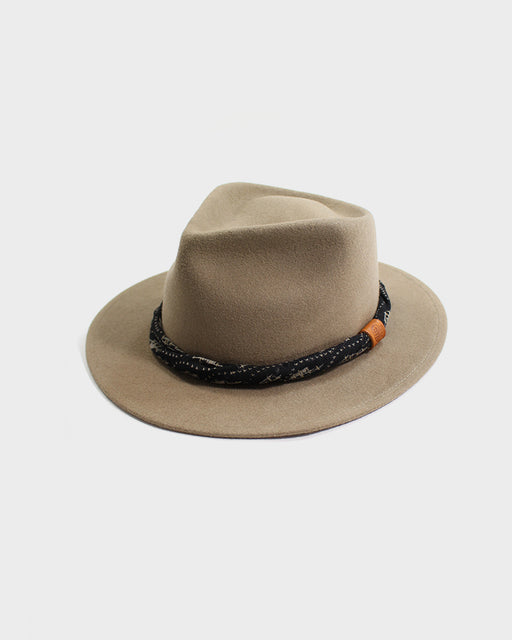 Kiriko Tan Wool Felt Hat, with Twisted Boro Black and Tan