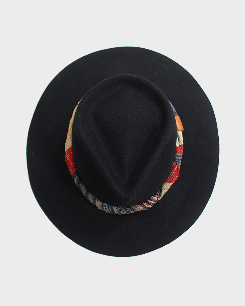 Kiriko Black Wool Felt Hat, with Boro Saki-Ori