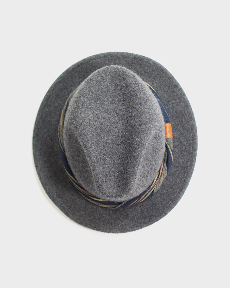 Kiriko Wool Felt Hat, Grey Wool Felt Hat, with Twisted Boro Shima