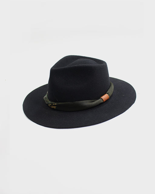 Kiriko Black Wool Felt Hat, with Silk Kimono, Green, Silver and Gold