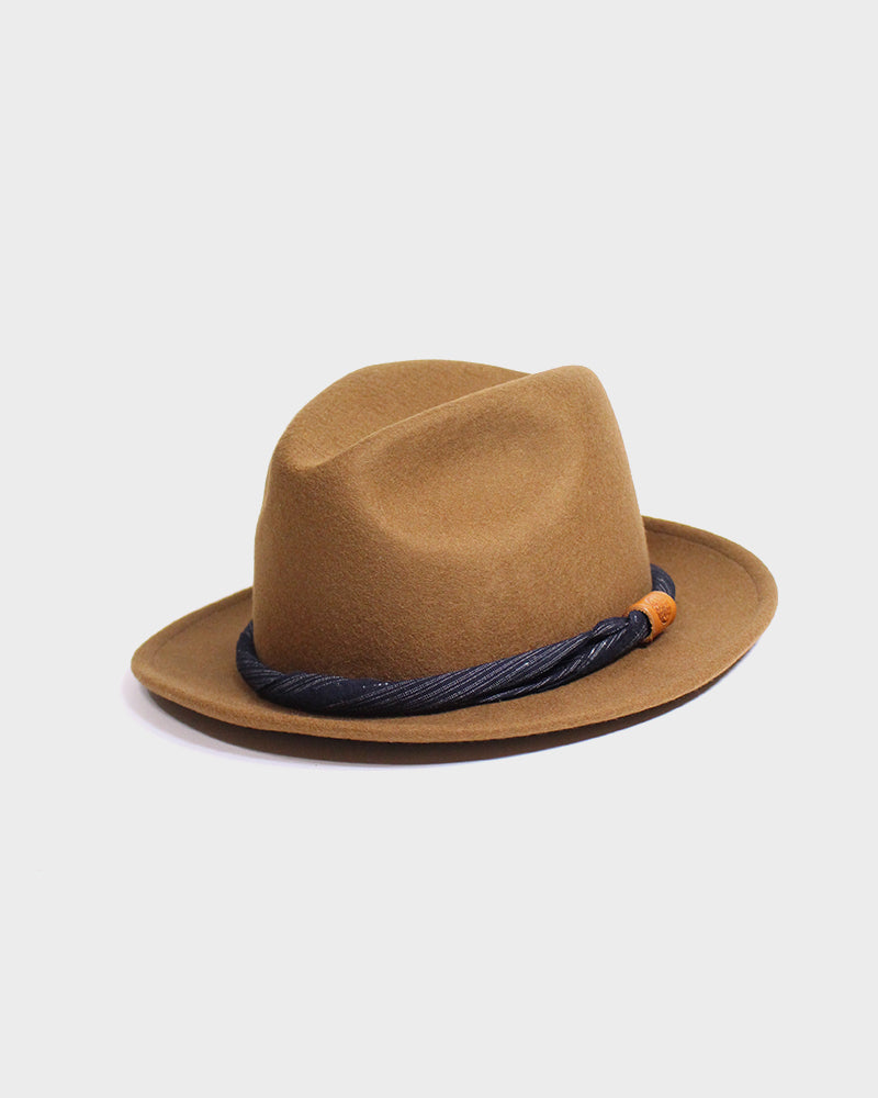 Kiriko Light Brown Wool Felt Hat, with Indigo Boro Shima