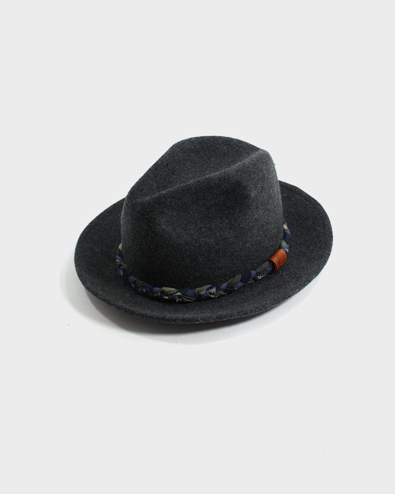 Kiriko Wool Felt Hat, Grey with Green and Indigo Braided Hat Band