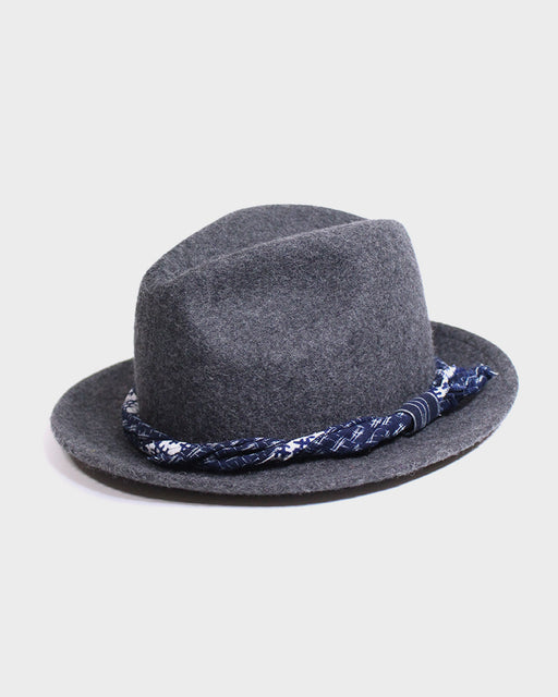 Kiriko Grey Wool Felt Hat, with Patched Indigo Jyuji