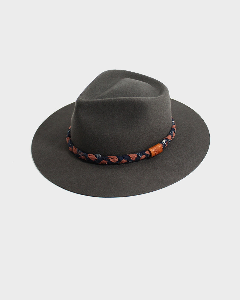 Kiriko Wool Felt Hat, Grey with Orange and Indigo Braided Hat Band