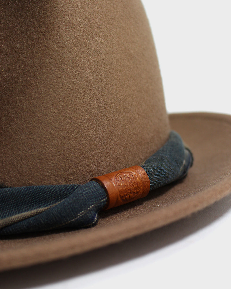 Kiriko Wool Felt Hat, Camel with Indigo and Beige Twisted Hat Band