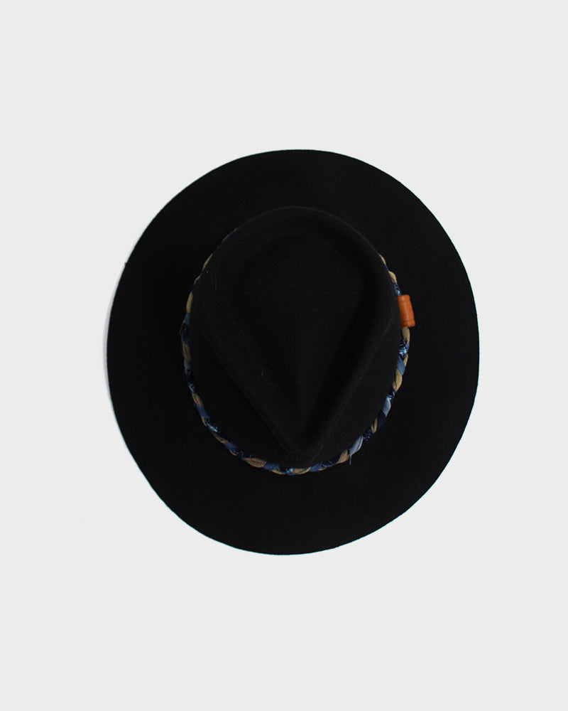 Kiriko Wool Felt Hat, Black, Braided Indigo, Yellow and Peach Hatband