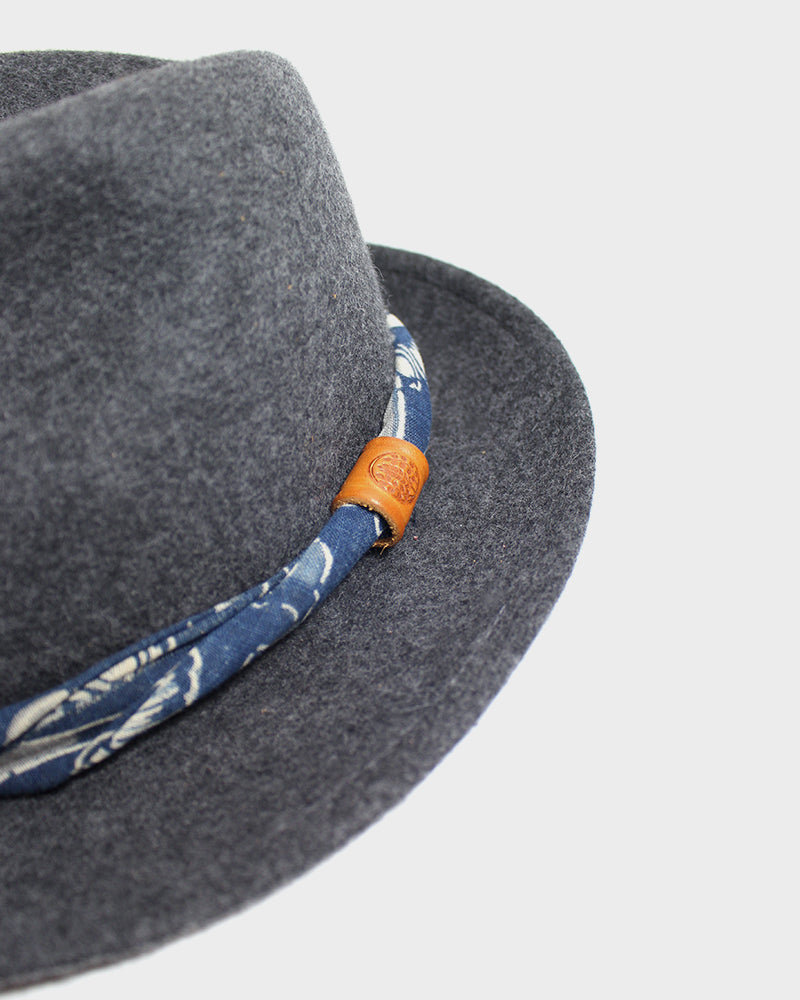 Kiriko Grey Wool Felt Hat, with Twisted Indigo Katazome Fabric