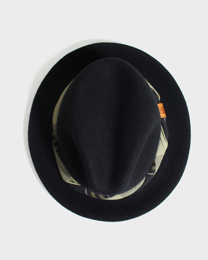 Kiriko Black Wool Felt Hat, with Twisted Tan and Charcoal Plaid Fabric