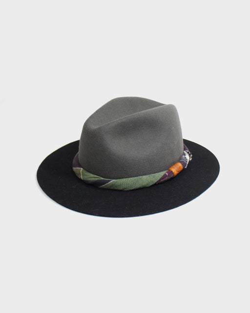 Kiriko Two Tone Wool Felt Hat, with Twisted Green and Purple Plaid Fabric