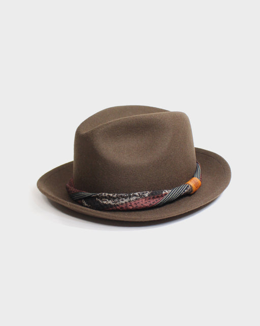 Kiriko Brown Wool Felt Hat, with Twisted Silk Fully Sashiko Stitch