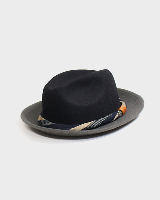 Kiriko Two Tone Wool Felt Hat, with Twisted Indigo Shima and Tan Fabric