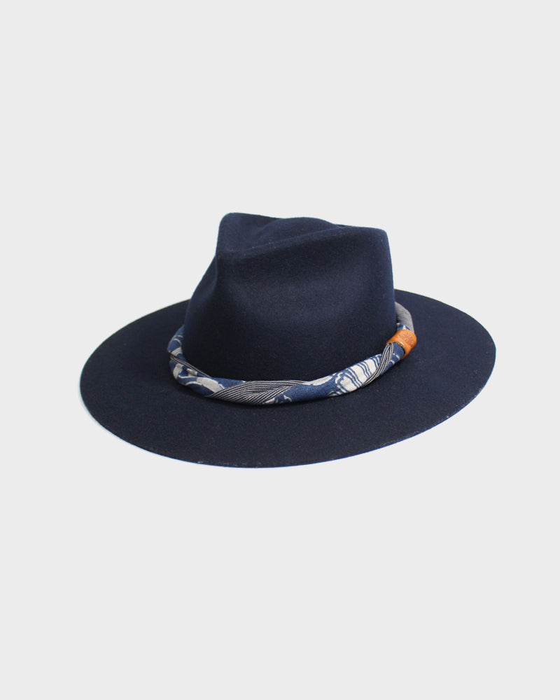 Kiriko Black Wool Felt Hat, with Twisted Indigo Katazome and Shima Fabric