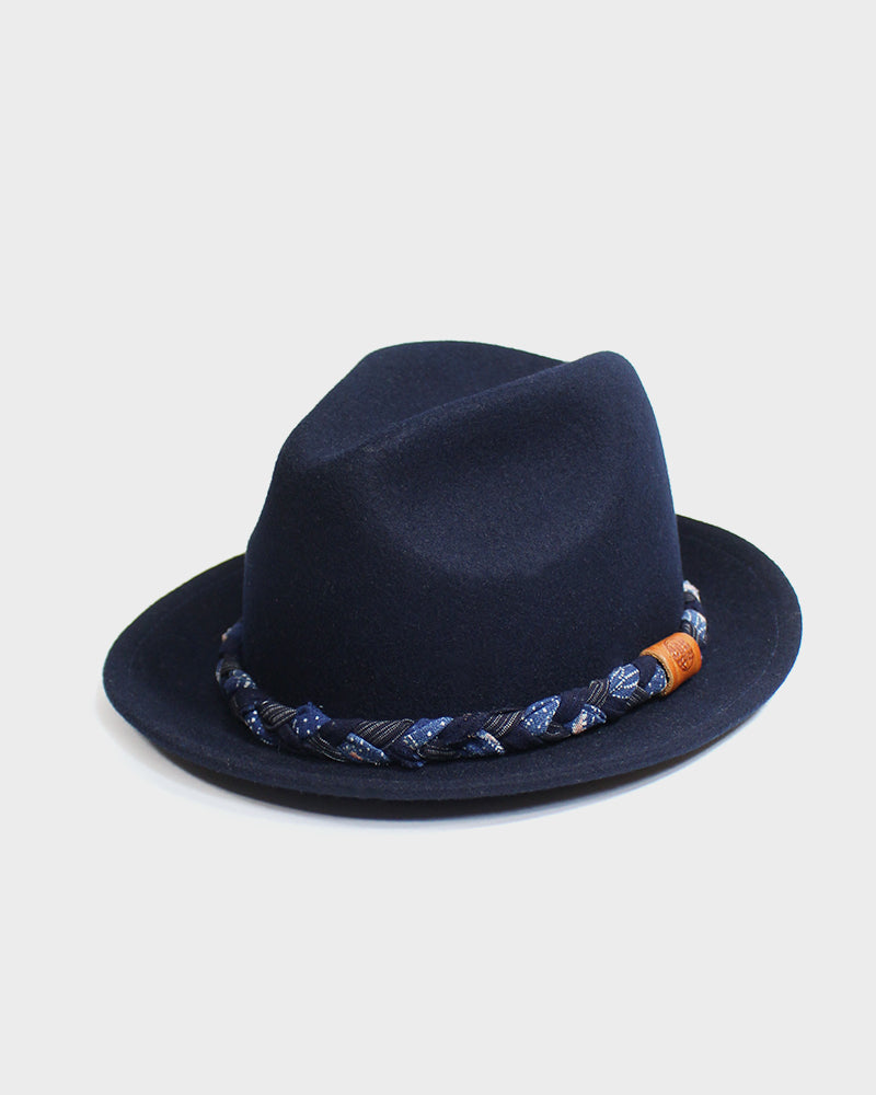 Kiriko Dark Blue Wool Felt Hat, with Twisted Indigo Katazome, Shima, and Boro Fabric