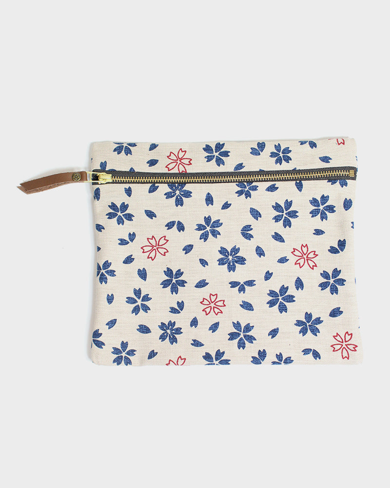 Flat Medium Zipper Pouch, Oatmeal, Indigo, and Red, Sakura