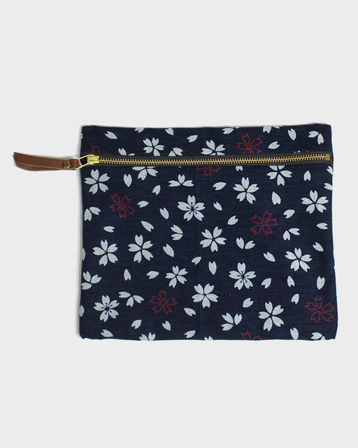 Flat Medium Zipper Pouch, Dark Indigo, Oatmeal, and Red, Sakura