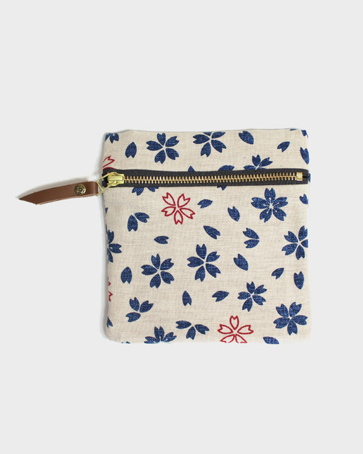 Flat Small Zipper Pouch, Oatmeal, Indigo, and Red Sakura