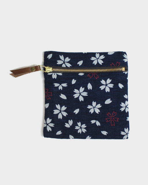 Flat Small Zipper Pouch, Dark Indigo, Oatmeal and Red, Sakura