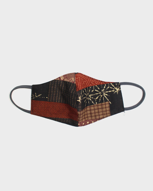 Face Mask, Brown Patchwork Style (Grey Cord)