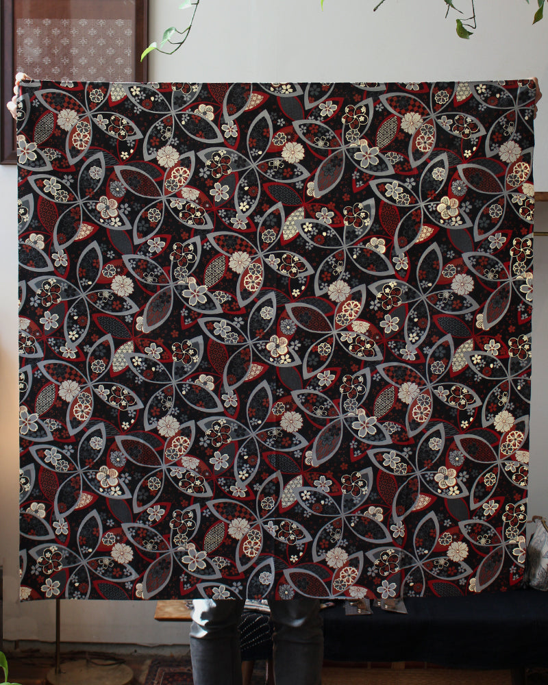 Furoshiki, Grey, Black and Rust Red Floral Pattern