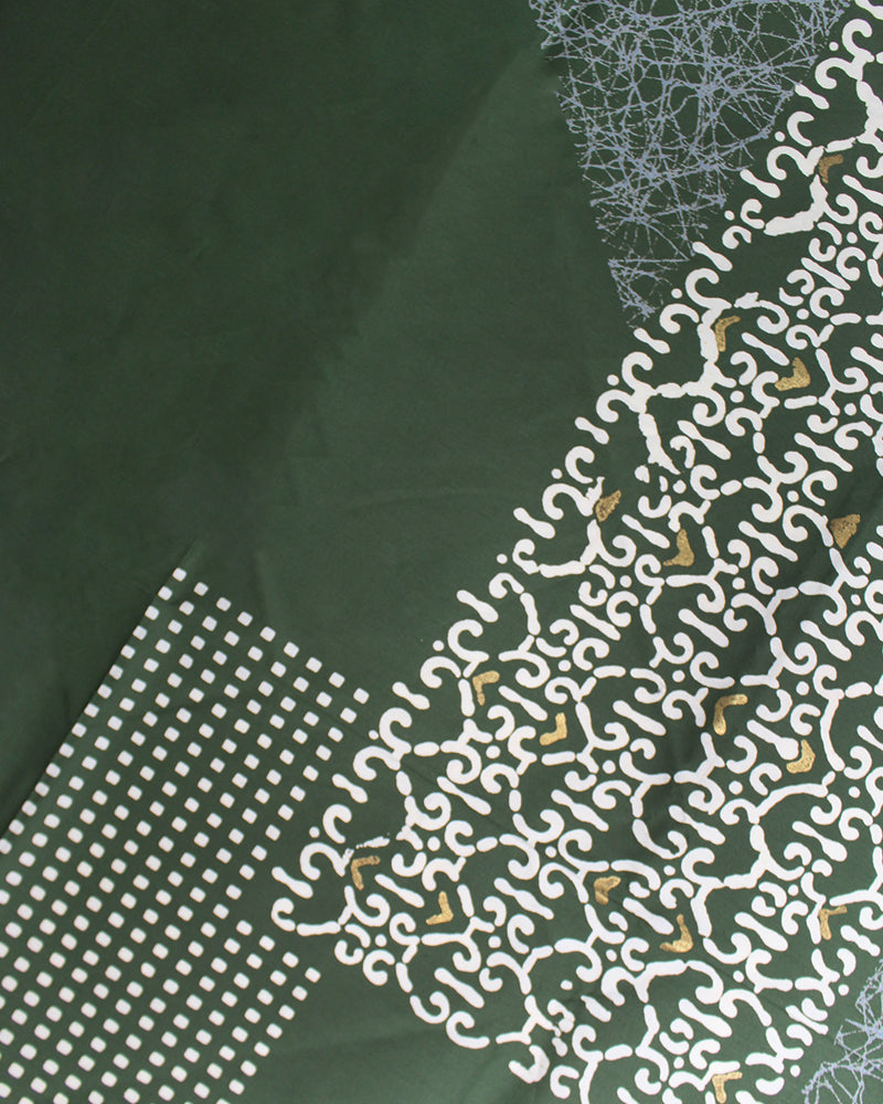 Vintage Furoshiki, Green and Silver, Abstract Design