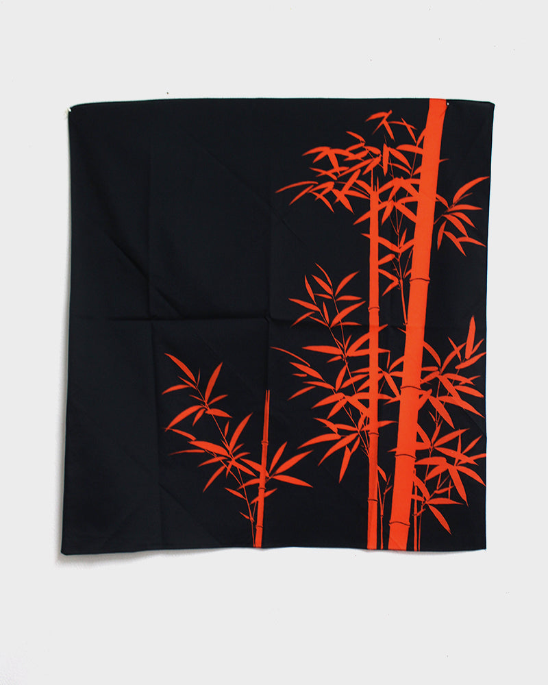 Vintage Furoshiki, Indigo and Orange Bamboo