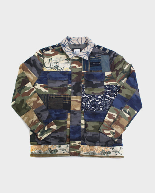 One of a Kind Boro Patched Camouflage Jacket with Obi Back (M)
