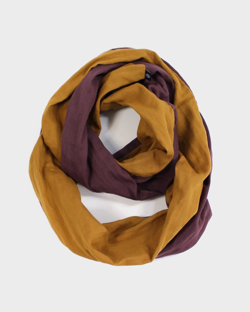 Double Gauze Split Infinity Scarf, Plum and Mustard