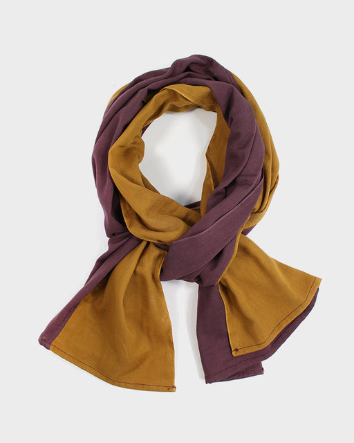 Double Gauze Split Scarf, Plum and Mustard