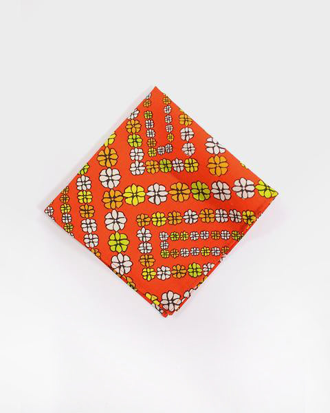 Pocket Square, Orange with Orange and Yellow Flowers