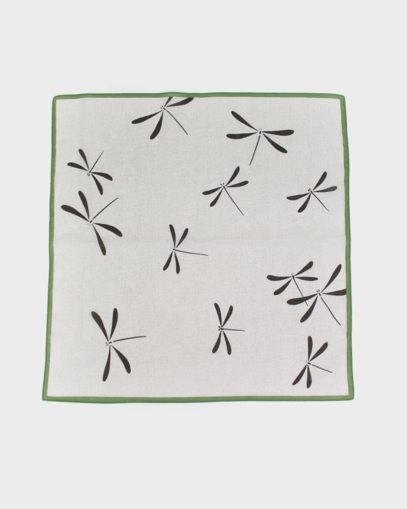 Japanese Handkerchief, Green & Charcoal Tonbo