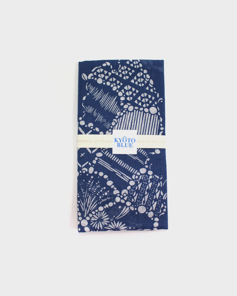 Japanese Handkerchief, Kyoto Blue, Map of Japan