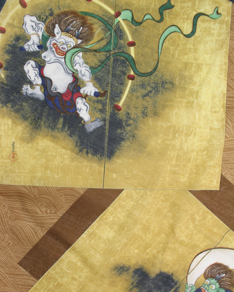 Japanese Handkerchief, Raijin and Fujin