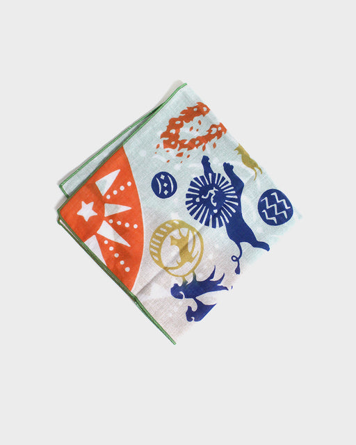 Double Gauze Reversible Handkerchief, Circus Animals