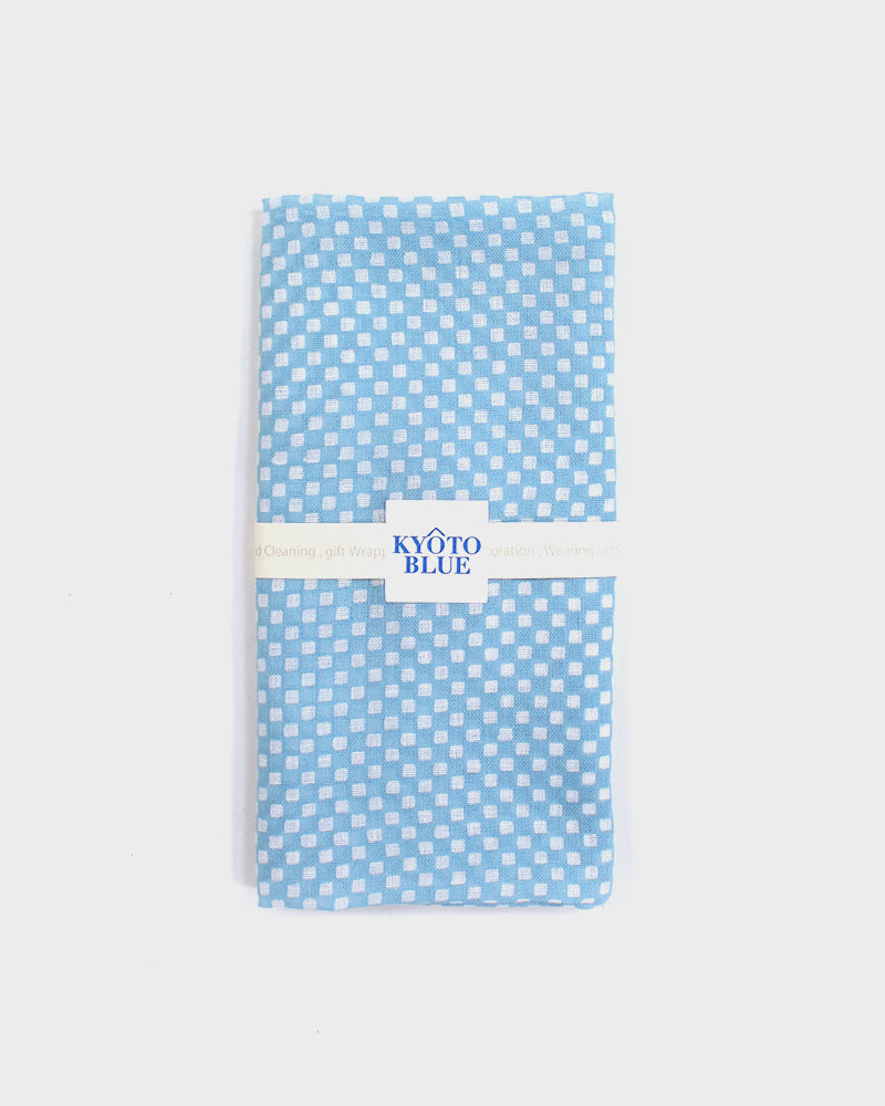 Japanese Handkerchief, Light Blue Ichimatsu