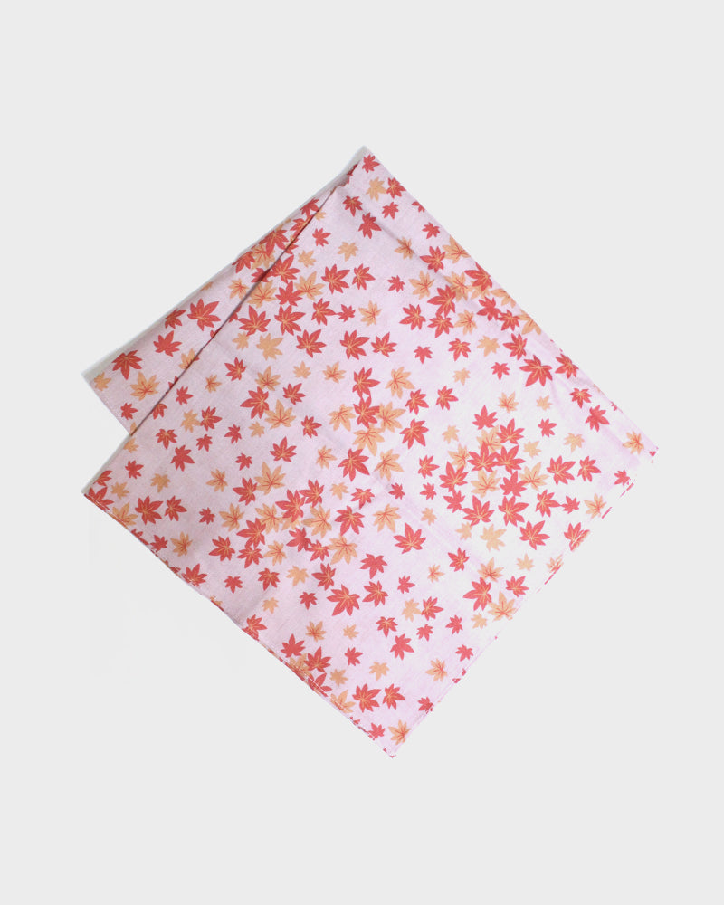 Japanese Handkerchief, Pink with Maple Leaves