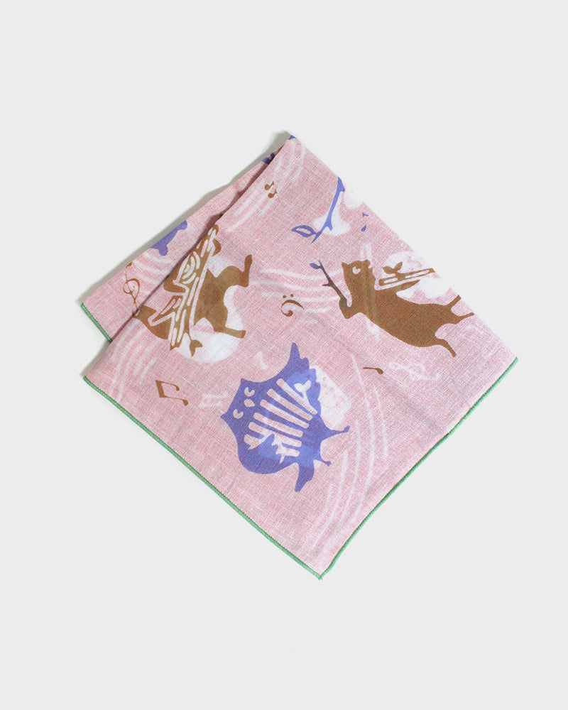 Double Gauze Reversible Handkerchief, Musical Animals