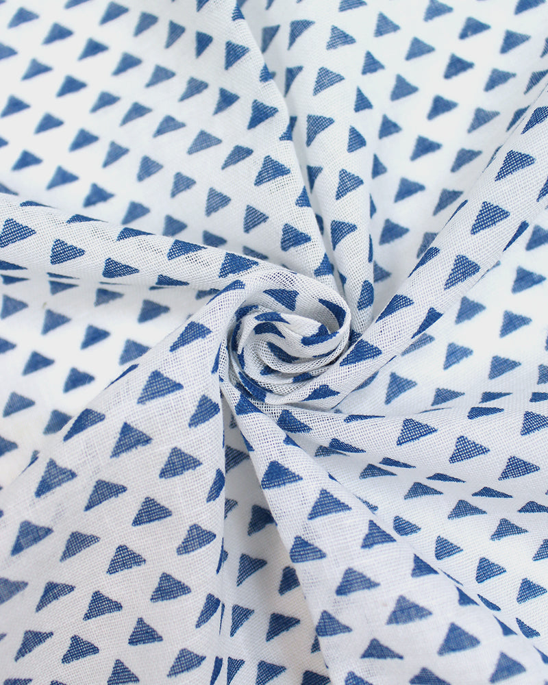 Japanese Handkerchief, White with Blue Uroko