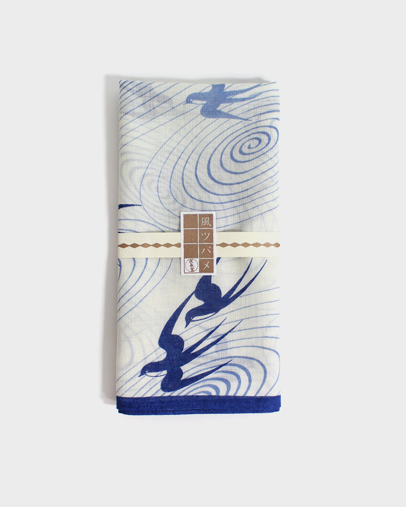 Japanese Handkerchief, Blue and White Swallows
